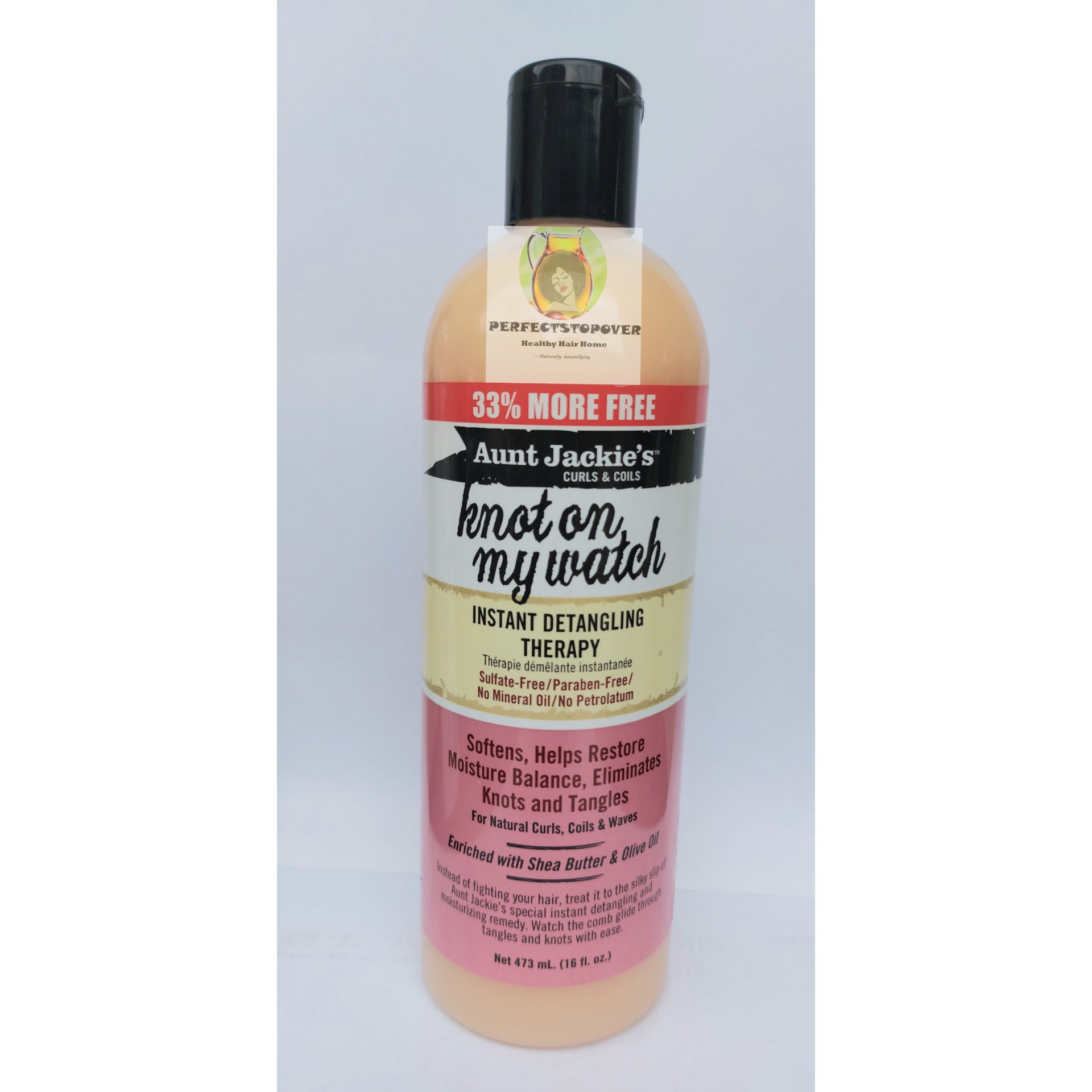 Aunt Jackie's curls and coils KNOT ON MY WATCH instant detangling therapy 33% more