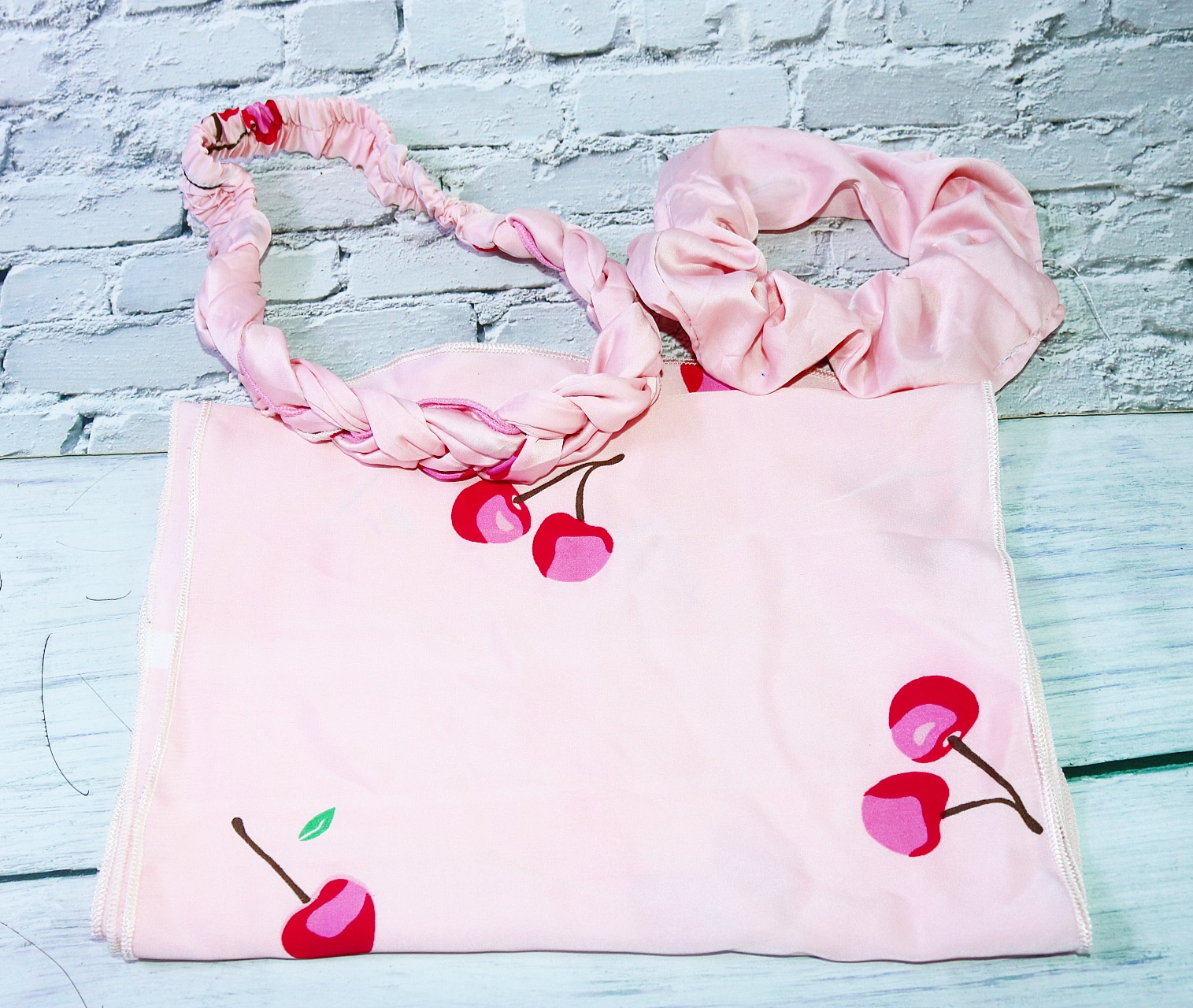 PINK Cherry 3 IN 1 SATIN LONG SCARF, SCRUNCHIES, WOOVEN ELASTIC HAIR BAND